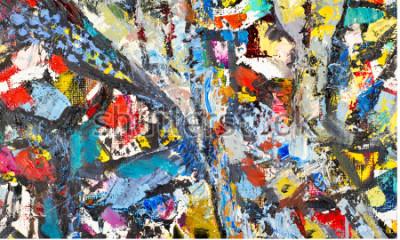 Image Texture, fond, modèle Peinture peinte par un artiste. Texture de fond abstrait, peinture acrylique sur toile. Silhouettes de personnes, thèmes orientaux,