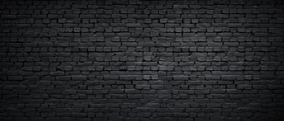 Image Texture of a black painted brick wall as a background or wallpaper