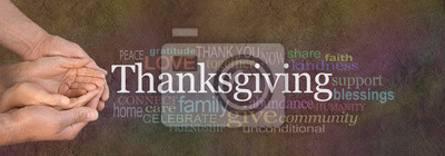 Image Thanksgiving Word Cloud Website Banner - Female cupped hands cradled by male hands outstretched with a white 'Thanksgiving' word floating above and relevant word cloud on a stone effect background