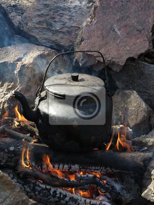 thé à la bouilloire sur le feu dans la nature sauvage