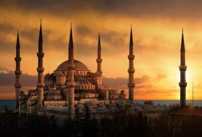 Image The Blue Mosque in Istanbul during sunset
