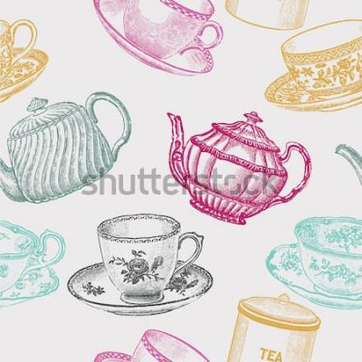 Image thé en porcelaine vintage. modèle sans couture
