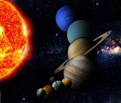 Image The sun and nine planets of our system orbiting
