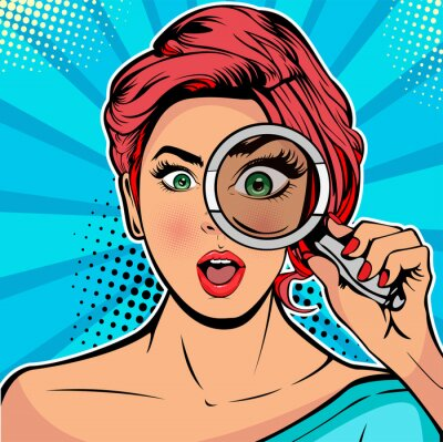 Image The woman is a detective looking through magnifying glass search. Vector illustration in pop art retro comics style