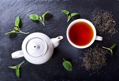 Image Théière, tasse, thé, menthe