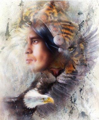 Image Tigre, aigle, Indien, guerrier, coiffure, Illustration. Animaux sauvages sur fond de peinture, Contact avec les yeux, Couleur blanche, noire et brune