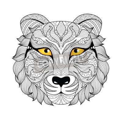 Tigre De Detail Pour La Page De Coloriage Tatouage Conception Peintures Murales Tableaux Loup Fauve Dessines A La Main Myloview Fr