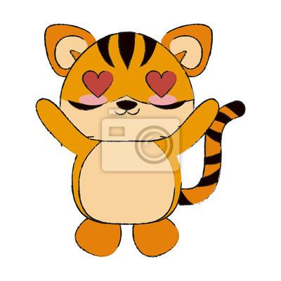 Tigre Mignon En Amour Dessin Animé Icône Vector Illustration