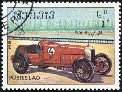 Image timbre imprimé au Laos avec un millésime Fiat S57 voiture de sport