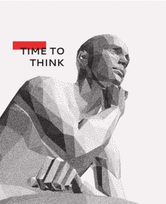 Image Time to think. A man with his hand on his chin as though he was thinking. Artificial intelligence concept. Searching for answers. Your personal assistent. 3D vector illustration.