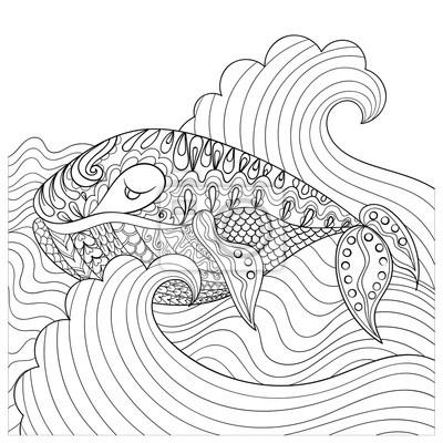 Coloriage Queue De Baleine.Tire Par La Main Baleine Dans Les Vagues Pour Antistres Coloriage