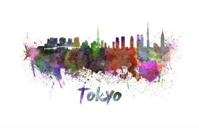 Image Tokyo horizon à l'aquarelle