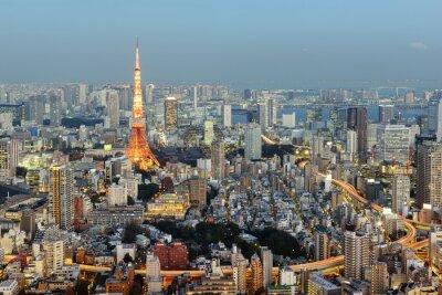 Image Tokyo; Japon - 14 janvier; 2016: Vue nocturne de Tokyo Skyline avec la Tour iconique de Tokyo en arrière-plan.