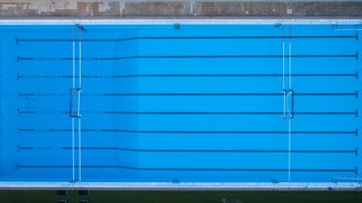 Image Top down view of swimming pool for water polo