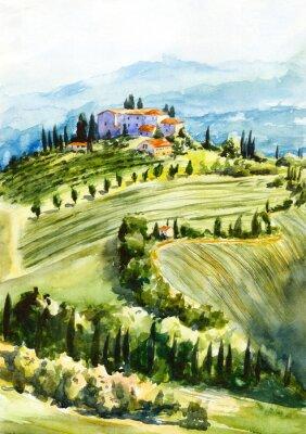 Image Toscana landscape. Watercolor illustration