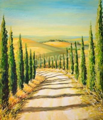 Image Toscane: paysage rural avec route, champs et collines. Image créée avec des couleurs acryliques.