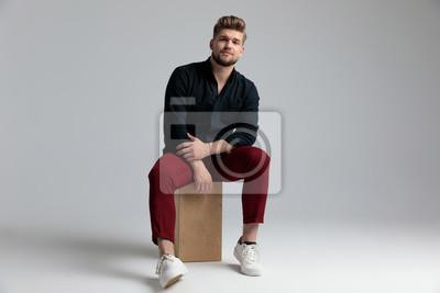 Image Tough fashion man seriously looking forward
