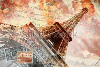 Image Tour Eiffel Paris, art numérique abstrait, carte postale