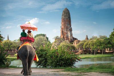 Image Touristes sur une tournée de tour d'éléphant de la ville ancienne Ayutaya, Thaïlande