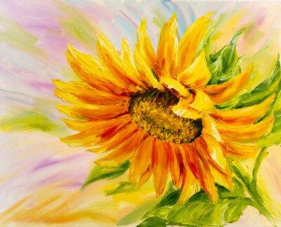 Image Tournesol, peinture à l'huile sur toile