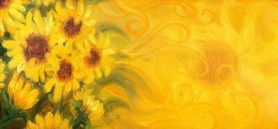Image Tournesols ensoleillés avec soleil et ornements. Peinture à l'huile sur toile.
