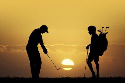 Image Tournoi de golf au coucher du soleil
