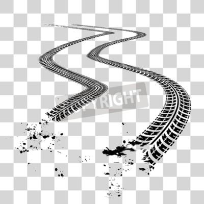 Image Traces de pneus. Illustration vectorielle sur fond quadrillé