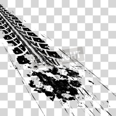 Image Traces de pneus. Vector illustration onon fond quadrillé