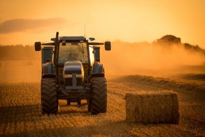 Image Tractor sunset harvest