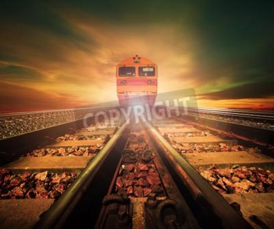 Image trains à la jonction des voies ferrées piste dans les trains gare agains belle lumière du soleil ensemble ciel utilisation pour le transport terrestre et l'industrie logistique fond, toile de fond, th