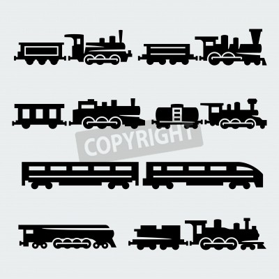 Image Trains silhouettes set