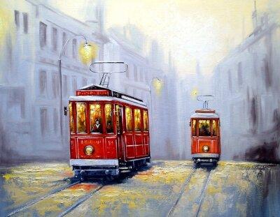 Image Tram en vieille ville, peinture à l'huile paysage