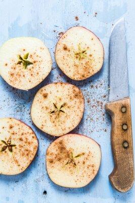 Image Tranches, frais, organique, pomme, cannelle, table