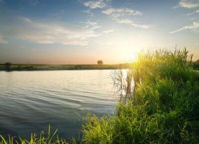 Image Tranquille, rivière, Coucher soleil