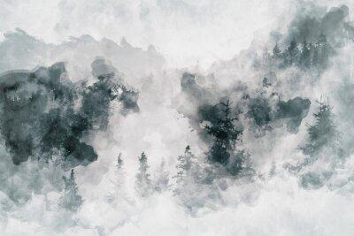 Image Travail d'art abstrait montrant une forêt sombre avec des bouleaux. Technique mixte