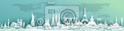 Image Travel landmarks world with world map background.