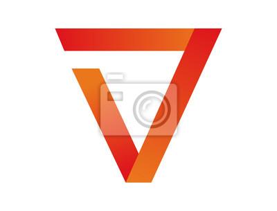 Image Triangle Abstrait Bleu Initiale Lettre V Logo Symbole 3d
