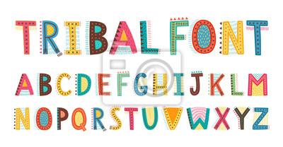 Image Tribal cute alphabet font. Uppercase doodle Letters.