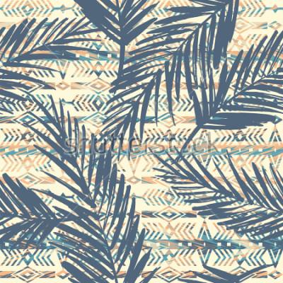 Image Tribal ethnique modèle sans couture avec des feuilles de palmier. Fond de vecteur
