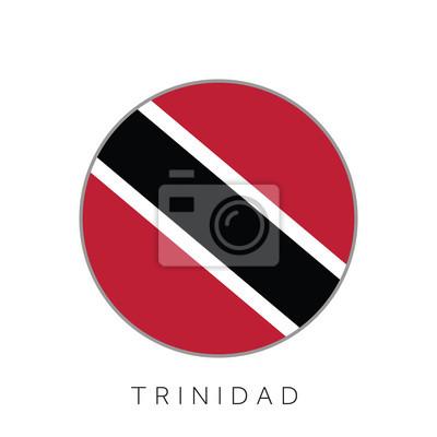 Drapeau Rond trinidad drapeau rond vecteur icône peintures murales • tableaux