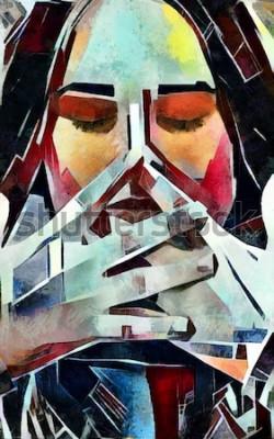 Image Triptyque portrait d'une fille dans le style du cubisme. L'image est faite à l'huile sur toile avec des éléments de peinture au pastel.