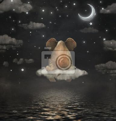 Triste, éléphant, séance, nuage, nuit, ciel