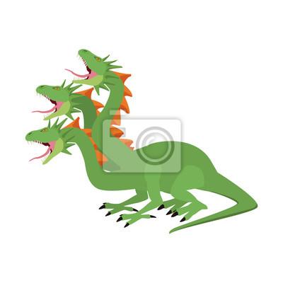 Trois Tetes Dragon Fantastique Creature Dessin Anime Vector