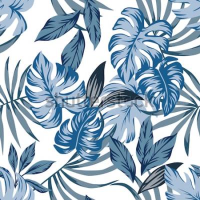 Image Tropic exotic palm leaves modèle vectorielle continue dans un style vintage bleu branché. Imprimer illustration mode nature peinture floral jungle papier peint sur un fond blanc