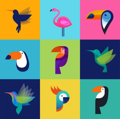 Image Tropical birds - set of vector icons
