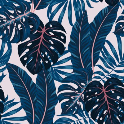 Image Tropical seamless pattern with colorful plants. Floral seamless vector tropical pattern background with exotic leaves, jungle leaf. Exotic wallpaper, Hawaiian style. Seamless vector texture.