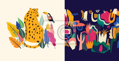 Tropical vector colorful illustration with leopard, flowers, toucan.