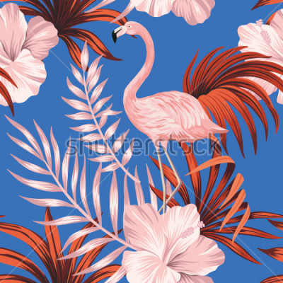 Image Tropical vintage pink flamingo, red palm leaves floral seamless pattern blue background. Exotic jungle wallpaper.