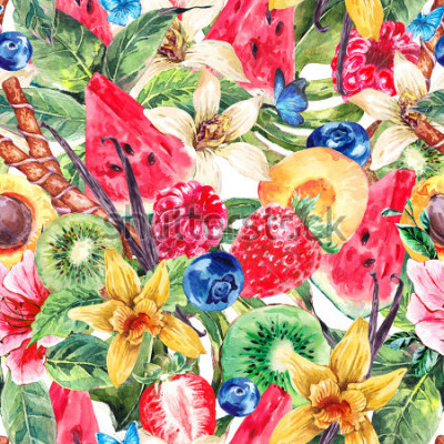 Image Tropical Watercolor Natural Healthy Food Eco Seamless Pattern with Watermelon, Apricot, Kiwi, Vanilla and Berries, Nature Exotic Menu Fruits Pattern