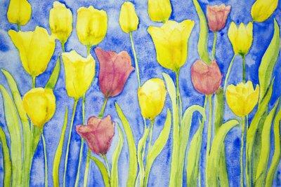 Image Tulipes jaunes et rouges sur un fond bleu. La technique dabbing près des bords donne un effet de foyer doux en raison de la rugosité de surface altérée du papier.